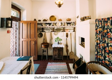 Vitebsk, Belarus - June 16, 2016: Interior Of Belarusian House Of Early Twentieth Century In Belarus: Home Stuff, Dishes, Oven.