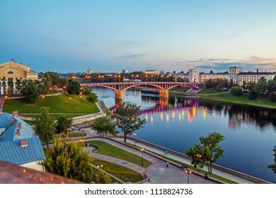 Vitebsk, Belarus, June 21, 2018: Bridge on the Dvina river