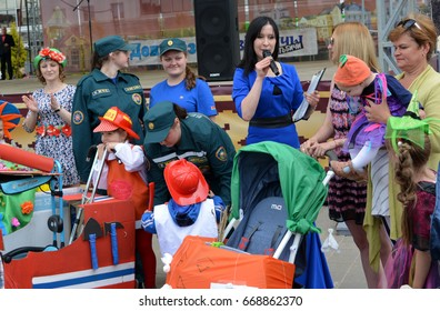 Vitebsk, Belarus: June, 23,2017-Parade of baby carriages, competition, entertainment. Children and parents, Vitebsk, Belarus