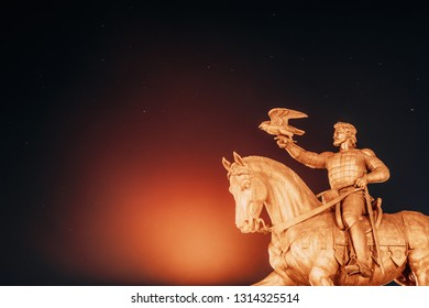 Vitebsk, Belarus. Monument To Algirdas With Falcon In Hand On Background Starry Sky.