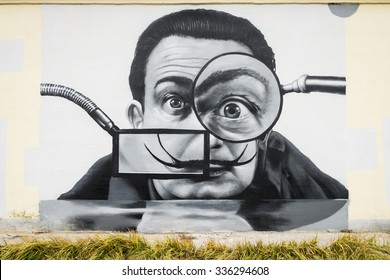 VITEBSK, BELARUS - November 7, 2015: Salvador Dali portrait graffiti on a wall of Vitebsk, Belarus