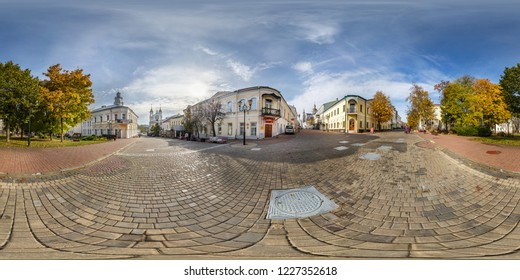 VITEBSK, BELARUS - OCTOBER, 2018: Full seamless panorama 360 degrees angle view on pedestrian street place of old tourist town in equirectangular projection. ready for VR AR Virtual reality content