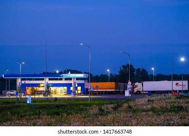 Vitebsk region, Belarus  - May, 22, 2019: petrol station in Vitebsk region, Belarus at night