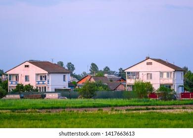 Vitebsk region, Belarus - May, 26, 2019: image of rural houses  in Vitebsk region