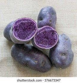 Vitelotte potatoes, raw