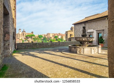 Viterbo, Italy - 2 December 2018 - A sunday morning in the medieval city of the Lazio region, ancient district named San Pellegrino, during the Christmas holydays.