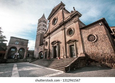 VITERBO, ITALY. January 22, 2017:  Viterbo Cathedral. Italian: Duomo di Viterbo, or Cattedrale di San Lorenzo is a Roman Catholic cathedral in the Lazio region in the center of italy.