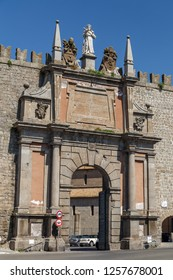 VITERBO / ITALY - JULY 2015: Gate of medieval fortifications of Viterbo town, Italy