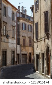 VITERBO / ITALY - JULY 2015: Street in the historic centre of Veterbo town, Italy