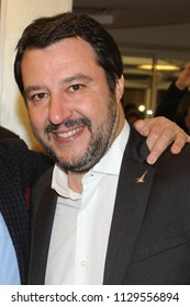 Viterbo - Italy - March 22, 2018 - Matteo Salvini in Viterbo after the rally in the square