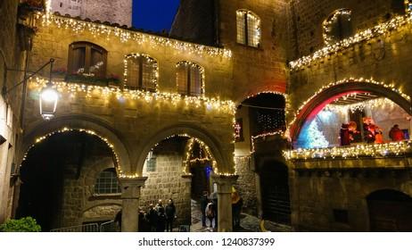 VITERBO, ITALY - NOVEMBER 25, 2018: Caffeina christmas village in the medieval center of Viterbo in Lazio, Italy