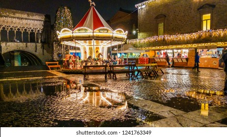 VITERBO, ITALY - NOVEMBER 25, 2018: Christmas market with food product in the historic center of Viterbo, Lazio