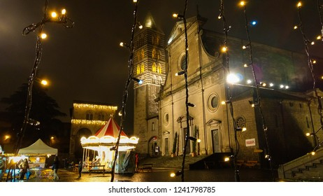 VITERBO, ITALY - NOVEMBER 25, 2018: Saint Lawrence Cathedral at christmas time in the medieval center of Viterbo, Lazio