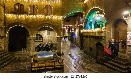 VITERBO, ITALY - NOVEMBER 25, 2018: View of medieval center of Viterbo at christmas time with decorations