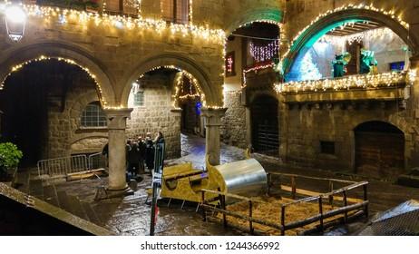 VITERBO, ITALY - NOVEMBR 25, 2018: Historic center of Viterbo city with christmas lights