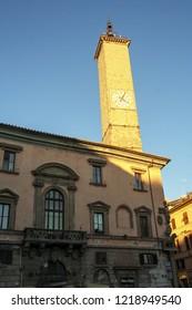 At Viterbo - Italy - On december 2016 - Municipio square and clock tower in Viterbo, Lazio, Italy