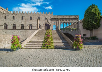 Viterbo, Italy - A sunday sping morning in the medieval city of the Lazio region, district named San Pellegrino