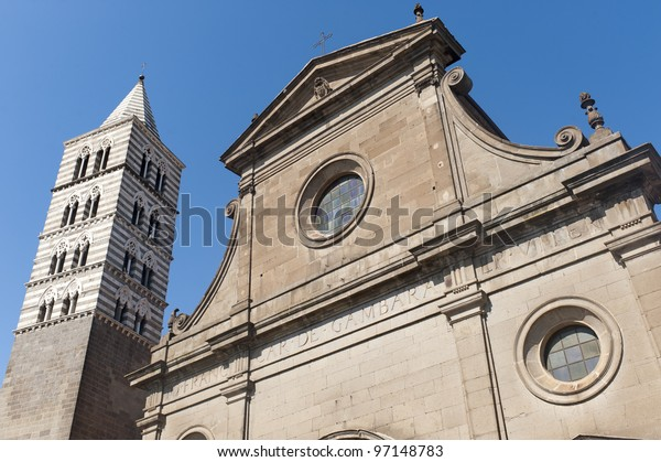 Viterbo (Lazio, Italy), the historic cathedral against a blue sky