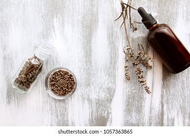 vitex agnus-castus on white wooden background
