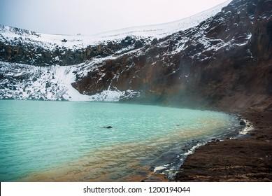 Viti lake in caldera of Askja volcano. Iceland. September. Trail to Viti lake.