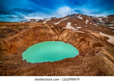 Viti sulfur blue lake in caldera of Askja volcano crater in Iceland, travel north landscape. Panoramic view