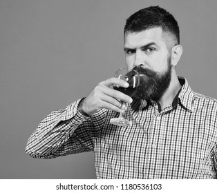 Viticulture and autumn concept. Man with beard drinks glass of red wine isolated on green background. Sommelier tastes expensive beverage. Winemaker with concentrated face holds wineglass