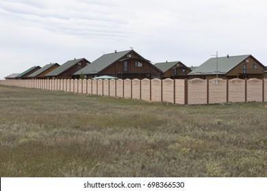 """Vitino, Saki District, Republic of Crimea, Russia - July 19, 2017: Hotel """"Dom Vitino"""" in the resort village Vitino in Saki district of Crimea"""