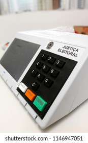 Vitoria / ES / Brazil - July 27, 2018: The Regional Electoral Court (TRE) presented earlier this week the Electronic Ballot Boxes that will be used in the October elections throughout Brazil.