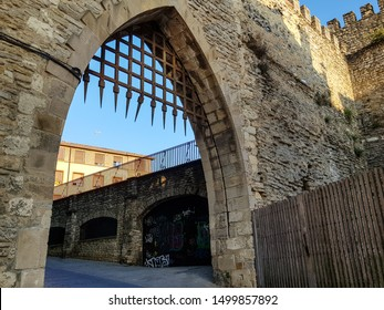 VITORIA GASTEIZ, SPAIN - 09 2019: The city wall of Vitoria was built in the middle ages