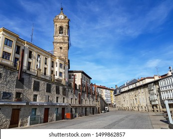 VITORIA GASTEIZ, SPAIN - 09 2019: A beautiful view of the Machete square. It is located in the city centre of Vitoria