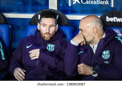 VITORIA, SPAIN - APRIL 23, 2019: Lionel Messi, Leo, FC Barcelona player, in the dock of Spanish League match between Deportivo Alaves and FC Barcelona