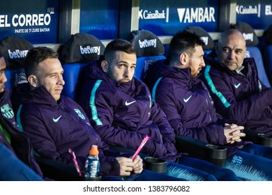 VITORIA, SPAIN - APRIL 23, 2019: Lionel Messi and Jordi Alba, Leo, FC Barcelona players, in the dock in the Spanish League match between Deportivo Alaves and FC Barcelona at Estadio de Mendizorroza