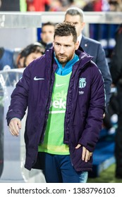 VITORIA, SPAIN - APRIL 23, 2019: Lionel Messi, Leo, FC Barcelona player, leaves the locker room to the dock in the Spanish League match between Deportivo Alaves and FC Barcelona