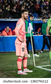 VITORIA, SPAIN - APRIL 23, 2019: Lionel Messi, Leo, FC Barcelona player, during a Spanish League match between Deportivo Alaves and FC Barcelona at Estadio de Mendizorroza