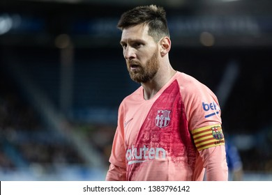 VITORIA, SPAIN - APRIL 23, 2019: Lionel Messi, Leo, FC Barcelona player, during a Spanish League match between Deportivo Alaves and FC Barcelona at Estadio de Mendizorroza