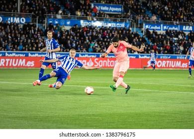 VITORIA, SPAIN - APRIL 23, 2019: Luis Suarez, FC Barcelona player, in acction during a Spanish League match between Deportivo Alaves and FC Barcelona at Estadio de Mendizorroza