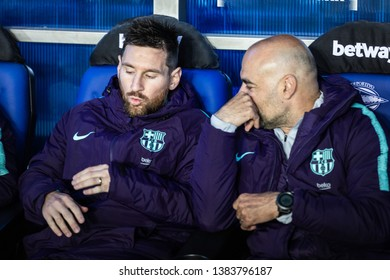 VITORIA, SPAIN - APRIL 23, 2019: Lionel Messi, Leo, FC Barcelona player, in the dock in the Spanish League match between Deportivo Alaves and FC Barcelona at Estadio de Mendizorroza