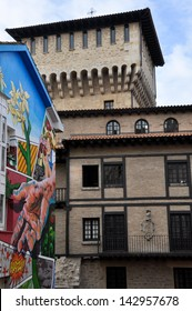 VITORIA, SPAIN - DECEMBER 17: Paint houses of the Mural Itinerary on December 17, 2012 in Vitoria, Spain. The IMVG creates murals on the facades of buildings in the medieval quarter of Vitoria.