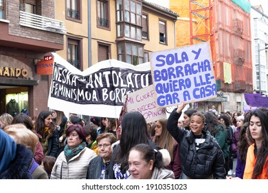 VITORIA, SPAIN - March 08, 2020: International women's day protest. Fight for equality and women's rights in Vitoria, Spain on March 08, 2020.