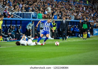 VITORIA, SPAIN - OCTOBER 06, 2018: Alvaro Odriozola (L), Ruben Duarte (C) and Julen Lopetegui (R) in action during the La Liga match between Deportivo Alaves and Real Madrid