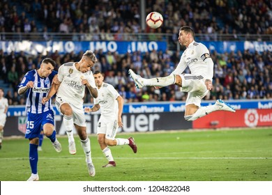 VITORIA, SPAIN - OCTOBER 06, 2018: Sergio Ramos (R) and Mariano Diaz Mejia (L), Real Madrid players in action during a Spanish League match between Alaves and Real Madrid