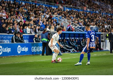 VITORIA, SPAIN - OCTOBER 06, 2018:Alvaro Odriozola (L) of Real Madrid  and Ruben Duarte (R) of Alaves during the La Liga match between Deportivo Alaves and Real Madrid