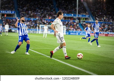 VITORIA, SPAIN - OCTOBER 06, 2018:Alvaro Odriozola (R) of Real Madrid and Ruben Duarte (L) of Alaves during the La Liga match between Deportivo Alaves and Real Madrid
