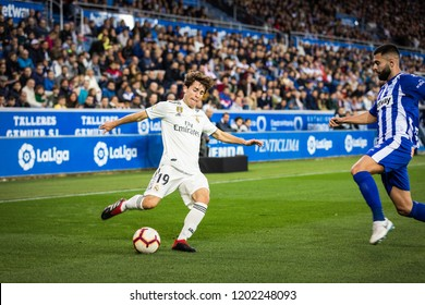 VITORIA, SPAIN - OCTOBER 06, 2018:Alvaro Odriozola (L) and Ruben Duarte (R) in action during the La Liga match between Deportivo Alaves and Real Madrid