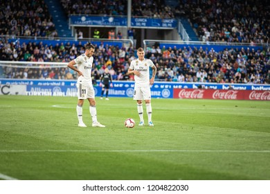 VITORIA, SPAIN - OCTOBER 06, 2018:Gareth Bale and Toni Kroos during the La Liga match between Deportivo Alaves and Real Madrid
