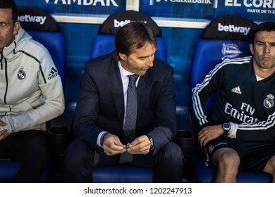 VITORIA, SPAIN - OCTOBER 06, 2018:Julen Lopetegui, Real Madrid coach, in action during a Spanish League match between Alaves and Real Madrid