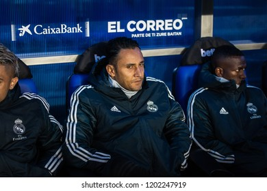 VITORIA, SPAIN - OCTOBER 06, 2018:Keylor Navas, Real Madrid goalkeeper in action during a Spanish League match between Alaves and Real Madrid