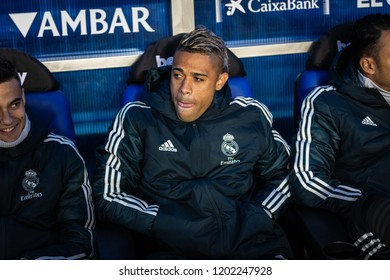 VITORIA, SPAIN - OCTOBER 06, 2018:Mariano Diaz Mejia, Real Madrid player in action during a Spanish League match between Alaves and Real Madrid