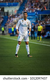 VITORIA, SPAIN - SEPTEMBER 23, 2017: Cristiano Ronaldo, CR7, Real Madrid player, in action during a Spanish League match between Alaves and Real Madrid