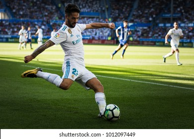 VITORIA, SPAIN - SEPTEMBER 23, 2017: Francisco Roman Alarcon Suarez, Isco, Real Madrid player, in action during a Spanish League match between Alaves and Real Madrid